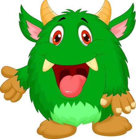 bigfoot: Cute green monster cartoon