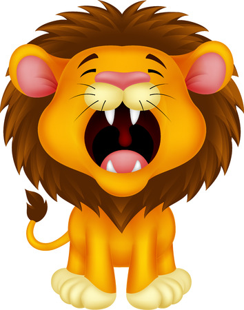 large mouth: Lion cartoon roaring  Illustration