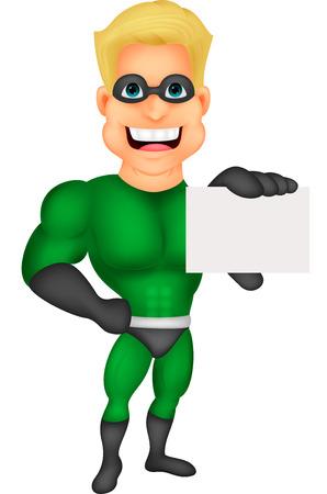 streaking:  hero cartoon holding name card