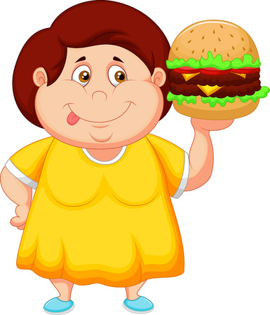 Fat girl cartoon smiling and ready to eat a big hamburger  Vector