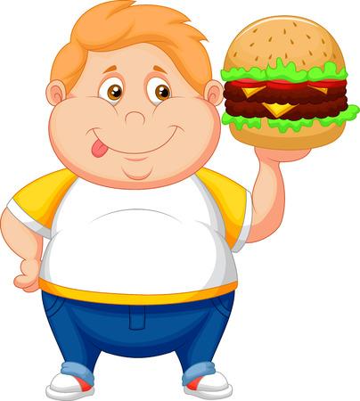 Fat boy cartoon smiling and ready to eat a big hamburger