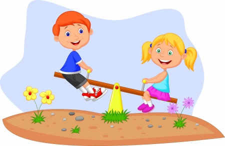 see saw: Cartoon Kids riding on seesaw