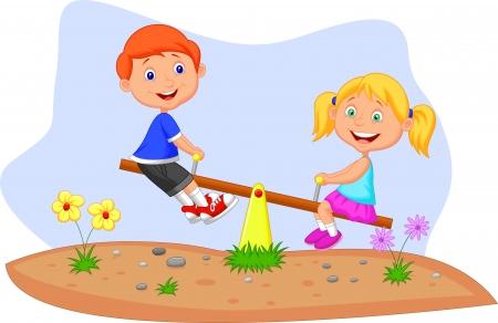 kind spielen: Cartoon Kinder reiten auf Wippe Illustration