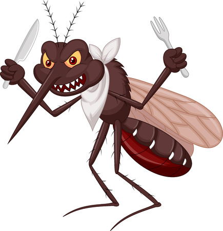 prick: Mosquito cartoon ready for eat  Illustration