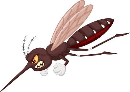 怒っている蚊の漫画  イラスト・ベクター素材