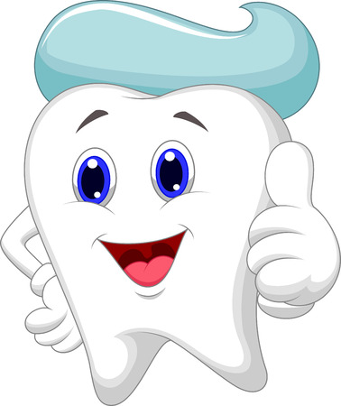 toothpaste: Cute tooth cartoon giving a thumb up