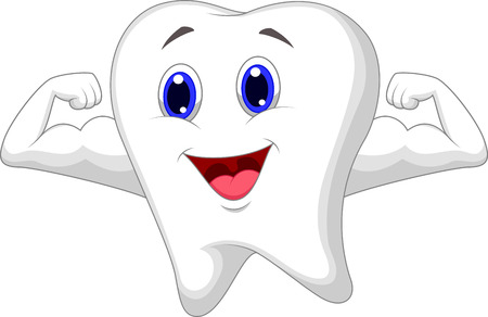 tooth root: Strong tooth cartoon  Illustration
