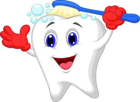 diente caricatura: Dibujos animados diente feliz cepillado Vectores