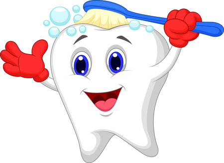 Glücklicher Zahn Cartoon-Bürsten Standard-Bild - 23517211