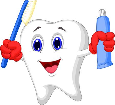 higiene bucal: Dientes cepillo de dientes y pasta de dientes de dibujos animados celebración Vectores