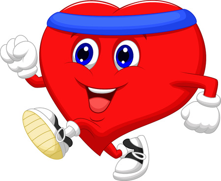 Cartoon Heart running to keep healthy  Vector