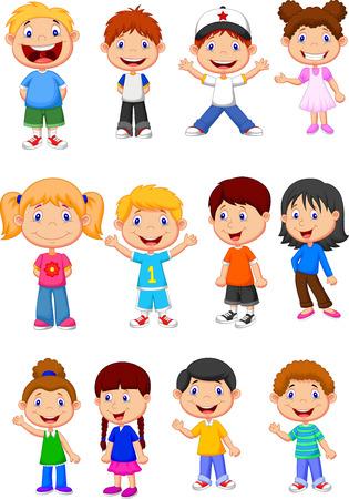 cobranza: Niños conjunto de recopilación de dibujos animados Vectores