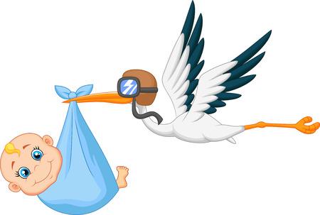 cicogna: Cartoon Cicogna che trasporta bambino Vettoriali