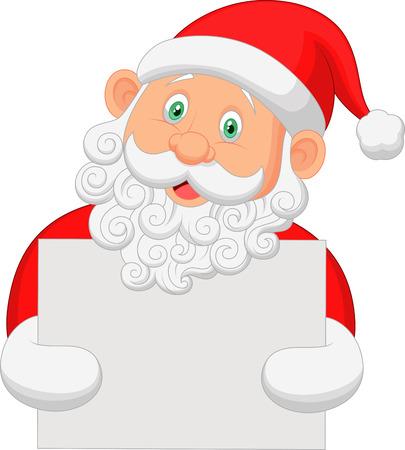 Cartoon Santa holding blank sign