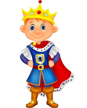 corona rey: Muchacho de la historieta linda con el rey de vestuario Vectores