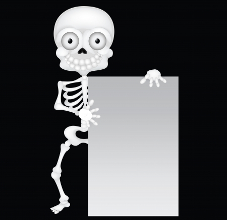 living skull: Funny skeleton cartoon with blank sign