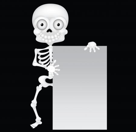 skeleton cartoon: Funny skeleton cartoon with blank sign