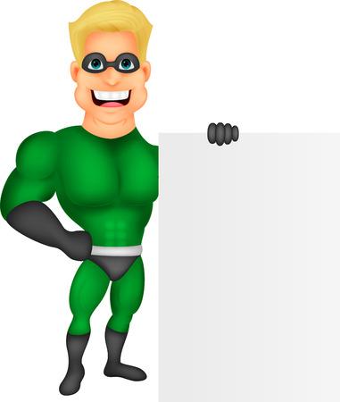 streaking:  hero cartoon with blank sign  Illustration