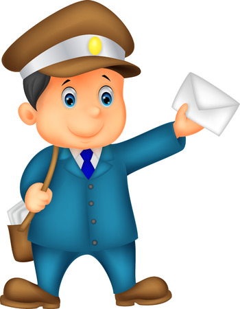 cartoon mascot: Cartoon Mail carrier with bag and letter