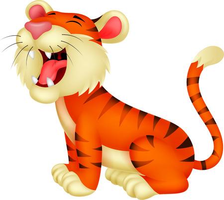 Tiger cartone animato ruggente Vettoriali