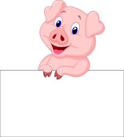 cerdo caricatura: Cerdo de la historieta linda que sostiene el cartel en blanco