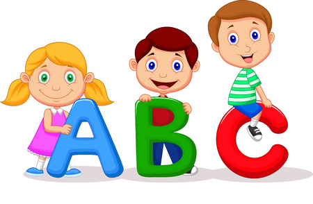 Children cartoon with ABC alphabet