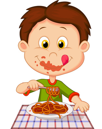 Cartoon boy eating spaghetti  向量圖像