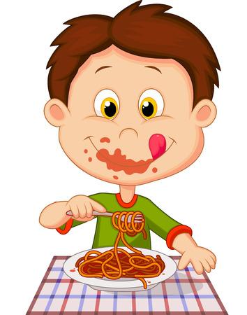 ätande: Tecknad pojke som äter spagetti Illustration