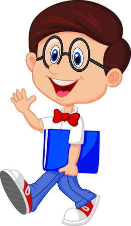 smart kid: Funny geek cartoon with big glasses in white shirt and red tie  Illustration