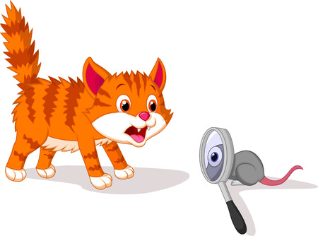 Cartoon Cat afraid of mouse with magnifying glass