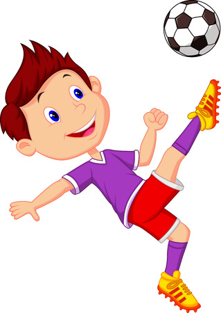 soccer kick: Boy cartoon playing football