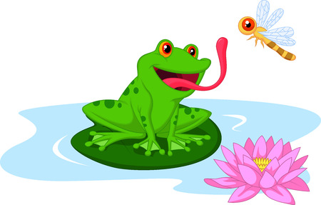 lily pad: Cute cartoon frog catching dragonfly