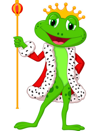 Cute king frog cartoon with royal stick