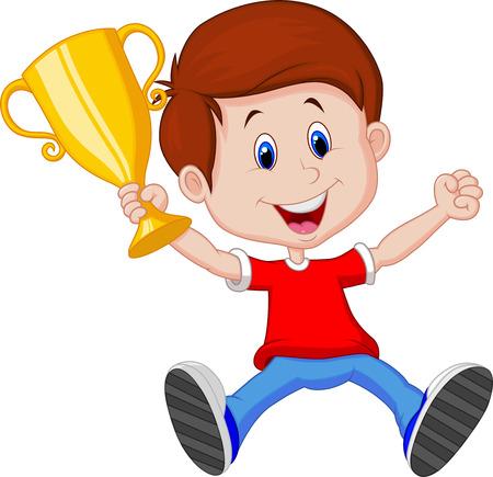gagnants: bande dessin�e de gar�on tenant troph�e d'or