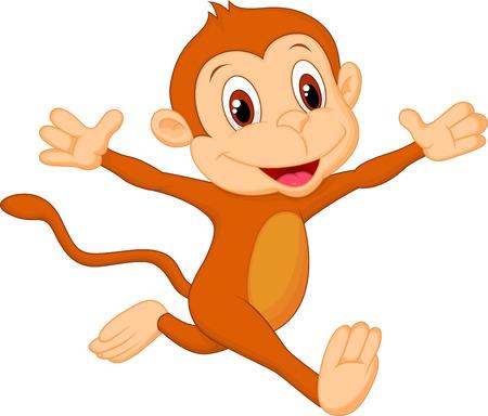 幸せな猿の漫画  イラスト・ベクター素材