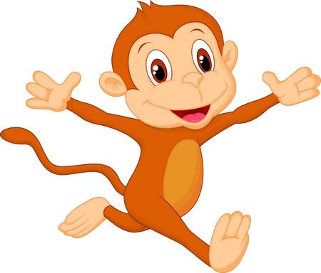 baby monkey: Happy monkey cartoon