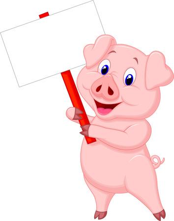 cerdo caricatura: Cerdo de dibujos animados la celebración de firmar en blanco