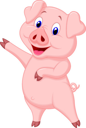 cerdo caricatura: Cerdo de la historieta linda que presenta