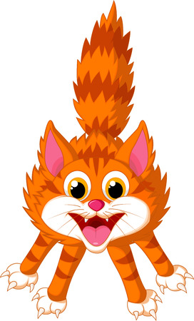 bad hair: Cute cat cartoon screaming