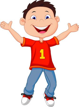 man presenting: Happy boy cartoon