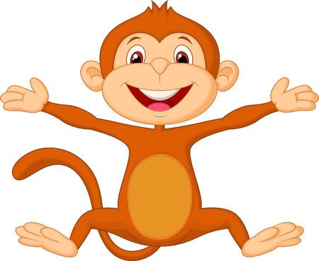 jumping monkeys: Happy monkey cartoon