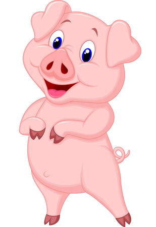 pig cartoon: Cute pig cartoon posing