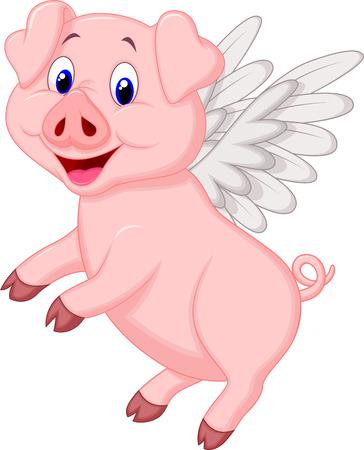cerdo caricatura: Cerdo lindo vuelo de dibujos animados