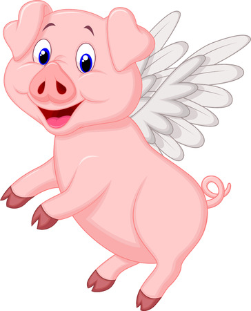 drawing cartoon: Cute pig cartoon flying