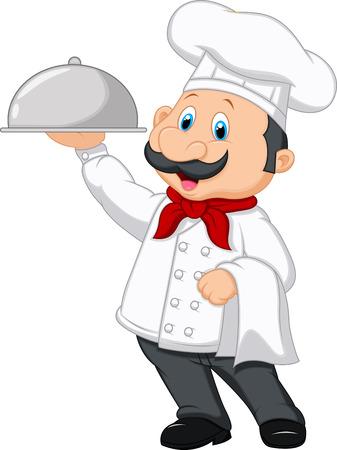 chef caricatura: Chef de dibujos animados con plato Vectores