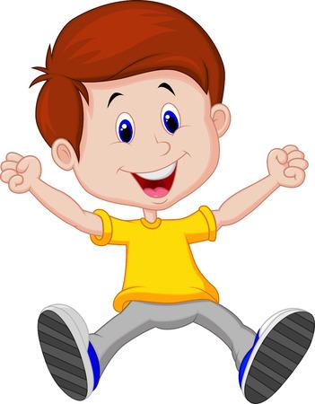 humor jump: Happy boy cartoon