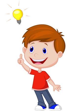 cartoon jongen: Cartoon jongen met grote idee