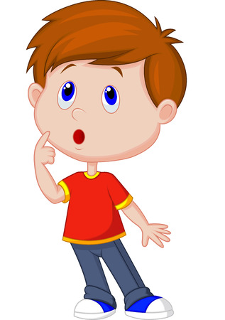 Cute boy cartoon thinking