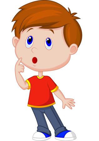 teenager thinking: Pensamiento de dibujos animados lindo chico Vectores