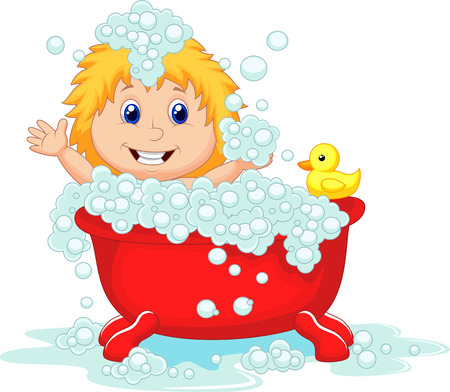 Girl cartoon bathing in the red bath tub